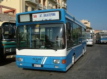 Городские автобусы на улицах столицы Крита