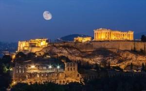 Город Афины в вечернее время
