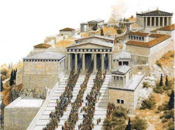 Торжественный праздник в честь богини Афины Панафинеон - старинная гравюра
