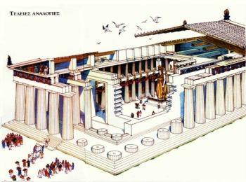 Афинский легендарный Парфенон в разрезе