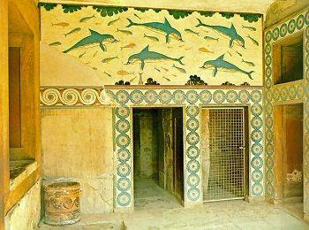 """Фреска """"Дельфины"""",  Кносский дворец, Крит, Греция"""
