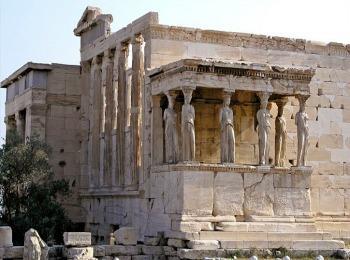 Портик Кариатид в храме Эрехтейон, Акрополь, Афины, Греция