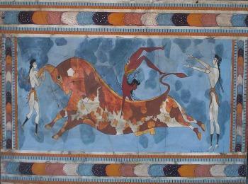 """Фреска """"Игры с быками"""", Кносский дворец, Крит"""