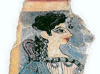 """Фреска """"Парижанка"""", Кносский дворец, Крит, Греция"""