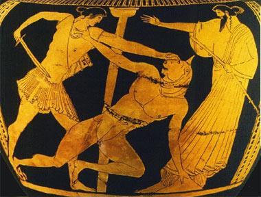 Тесей убивает Минотавра, фреска, Крит, Греция