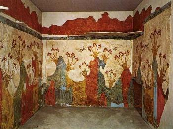 Настенные росписи, обнаруженные при раскопках в древнем поселении местечка Акроти на Санторини