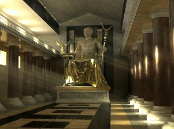 Статуя Зевса, храм Зевса в Олимпии, Греция